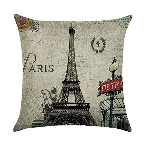 Decorlution Ancient Paris Eiffel Tower Pattern 18X18 Inch Cotton Linen Breathable Square Throw Pillow Case Cushion Cover For Sofa Couch Decorative Flexible Standard Size Pillowcase Slipcover