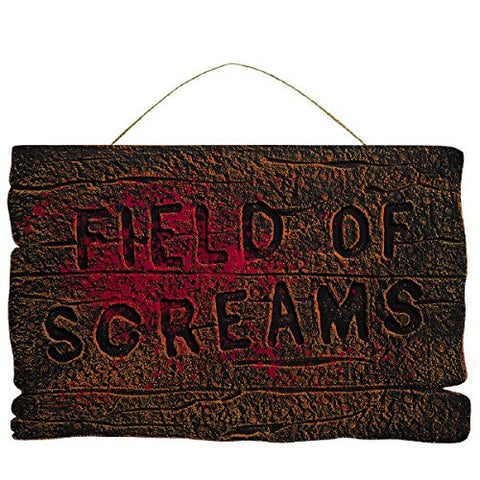 Field Of Screams Halloween Party Wooded Hanging Sign Decoration, Foam, 14 X 22
