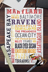Maryland - Rustic Typography (12X18 Art Print, Wall Decor Travel Poster)