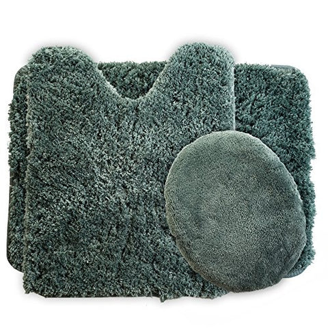 Lavish Home 3-Piece Super Plush Non-Slip Bath Mat Rug Set, Green