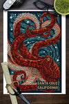 Santa Cruz, California - Octopus Mosaic (9X12 Art Print, Wall Decor Travel Poster)