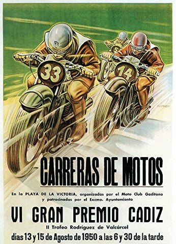 Motorcycle Racing Promotion Vintage Poster (12X18 Art Print, Wall Decor Travel Poster)