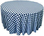 La Linen Poly Checkered Round Tablecloth, 120-Inch, Navy/White