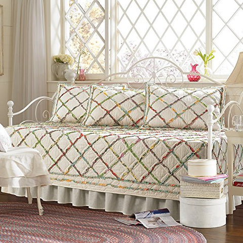 Laura Ashley 206829 Ruffle Garden 5 Piece Daybed Set, Mulit Pink
