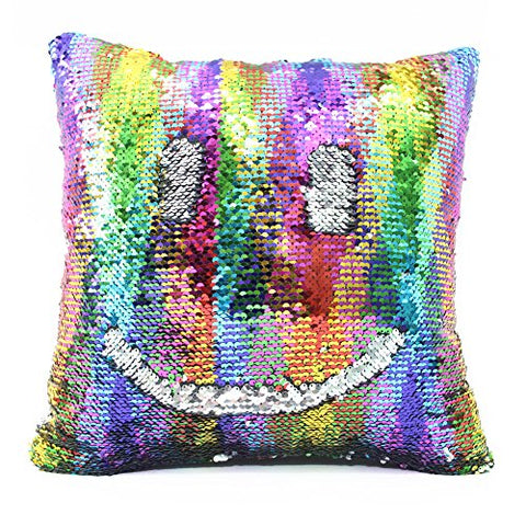 Drcosy Mermaid Pillow Case 16 X16  Magic Reversible Sequins Pillow Covers (Colorful Wave/Silver)