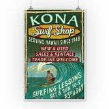 Kona, Hawaii - Surf Shop Vintage Sign (12X18 Art Print, Wall Decor Travel Poster)