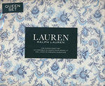 Lauren Ralph Lauren Queen Size 4 Piece Sheet Set 100% Cotton - Navy Blue And Light Blue Floral Pattern On White