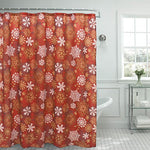 Creative Home Ideas Snowflakes Christmas Shower Curtain, 72 X 72, Red/White/Gold