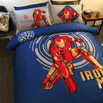 Lotus Karen Captain America Spider-Man Transformers Iron Man 100% Cotton Boys Kids Bedding Sets,1Duve Cover,1Flat Sheet,2Pillowcases