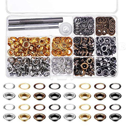 Paxcoo 240 Sets 1/4 Inch Grommet Eyelets Kit With 3 Pieces Installation Tool Kit (4 Colors)