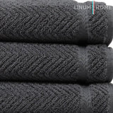 Linum Home Textiles Herringbone Premium Authentic Soft 100% Turkish Cotton Luxury Hotel Collection Hand Towel, Set Of 4, Grey