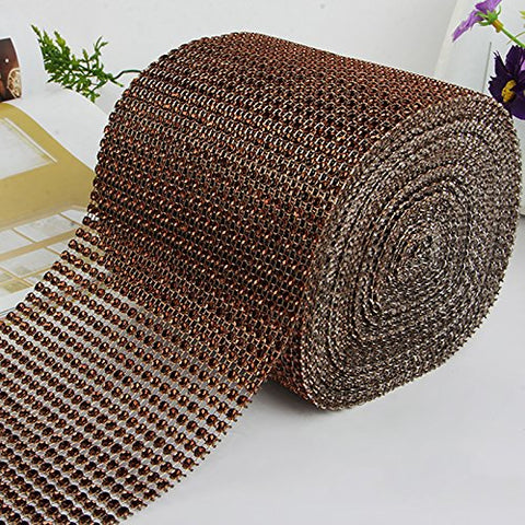 Diamond Mesh Wrap Cake Roll Rhinestone Ribbon Wedding Favor Decor Party Supplies (Coffee)