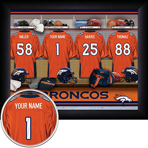 Denver Broncos Personalized Nfl Football Locker Room Jersey Framed Art Print 13X16 Inches