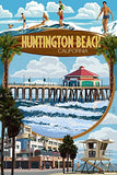Huntington Beach, California - Montage Scenes (9X12 Art Print, Wall Decor Travel Poster)