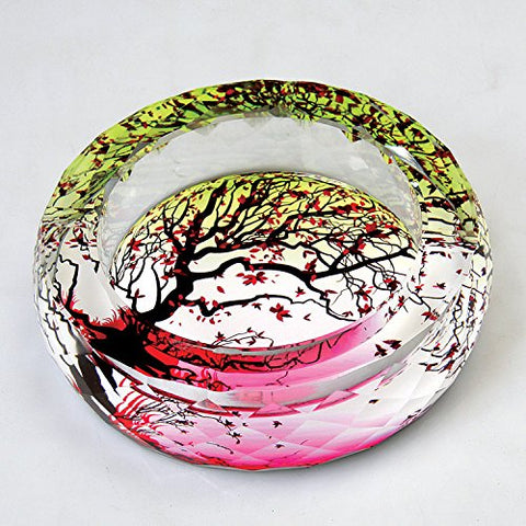 Kufox Tree Of Life Crystal Cigarette Ashtray,Ash Holder Case,Home Office Beautiful Decoration,Round Shape Red Yellow Tree