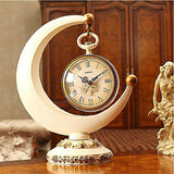 Lares Domi Vintage Style Quiet Movement Crescent Moon Shape Decorative Romantic Desk Clock, Elegant White