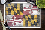 Maryland State Flag - Barnwood Painting (Image Only) (9X12 Collectible Art Print, Wall Decor Travel Poster)
