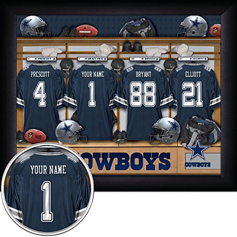 Dallas Cowboys Personalized Nfl Football Locker Room Jersey Framed Art Print 13X16 Inches