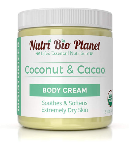 Nutribioplanet Coconut Oil & Cacao Butter Body Cream Moisturizer (16 Ounce)