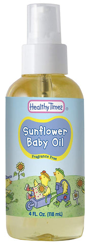 Healthy Times Sunflower Baby Oil, Fragrance Free | Hypoallergenic For Sensitive Skin, Tear Free, Dermatologist Tested | 4 Fl. Oz. Bottle, 1 Count