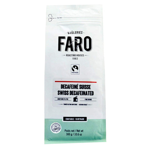 Faro Swiss Decaffeinated Medium Roast 10-Ounce Organic Fair Trade Ground Coffee
