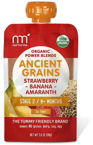 Nurturme Power Blends Organic Baby Food Pouch, Strawberry + Banana + Amaranth, 3.5 Ounce