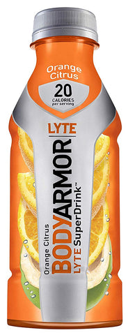 Bodyarmor Lyte Sports Drink Low-Calorie Sports Beverage, Orange Citrus, Natural Flavors With Vitamins, Potassium-Packed Electrolytes, No Preservatives, Perfect For Athletes, 16 Fl Oz