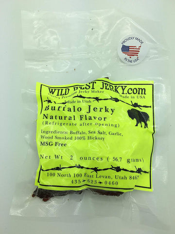 #1 Best Premium 100% Natural Grass Fed Hand Stripped 2 Oz. Thick Cut Delicious Bold Flavor Buffalo Natural Jerky From Utah Usa  Wood Smoked With Hickory Wood By Wild West Jerky (Natural, 1)