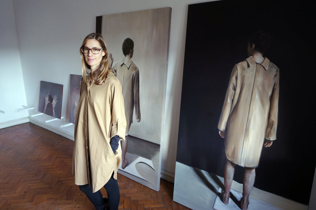 Daniela Krtsch, Elementum Multifunctional Shirt Dress &'Facing Youth'. Sustainable clothes.