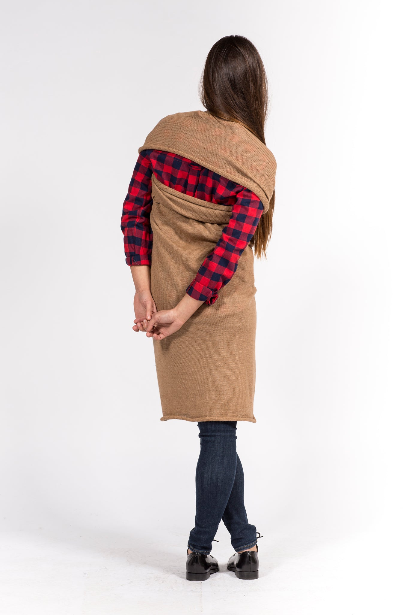 camel dress in baby alpaca wool