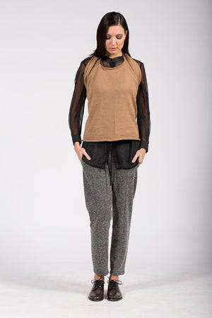 Elementum alpaca wool top in camel, can be also worn as scarf or hoody.
