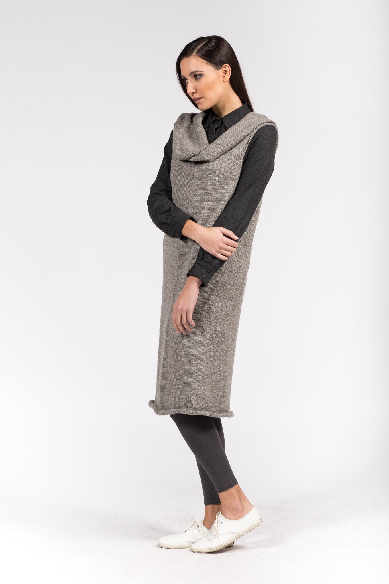 lightgrey camel dress