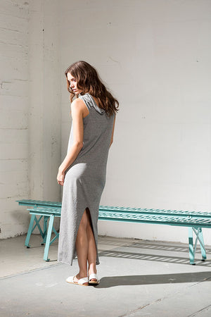 Grey long dress which can be worn in multiple ways, in organic cotton.