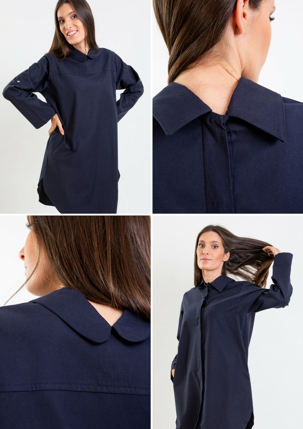 Multifunctional navy shirt whic can be worn as  a long shirt, dress or tunic.