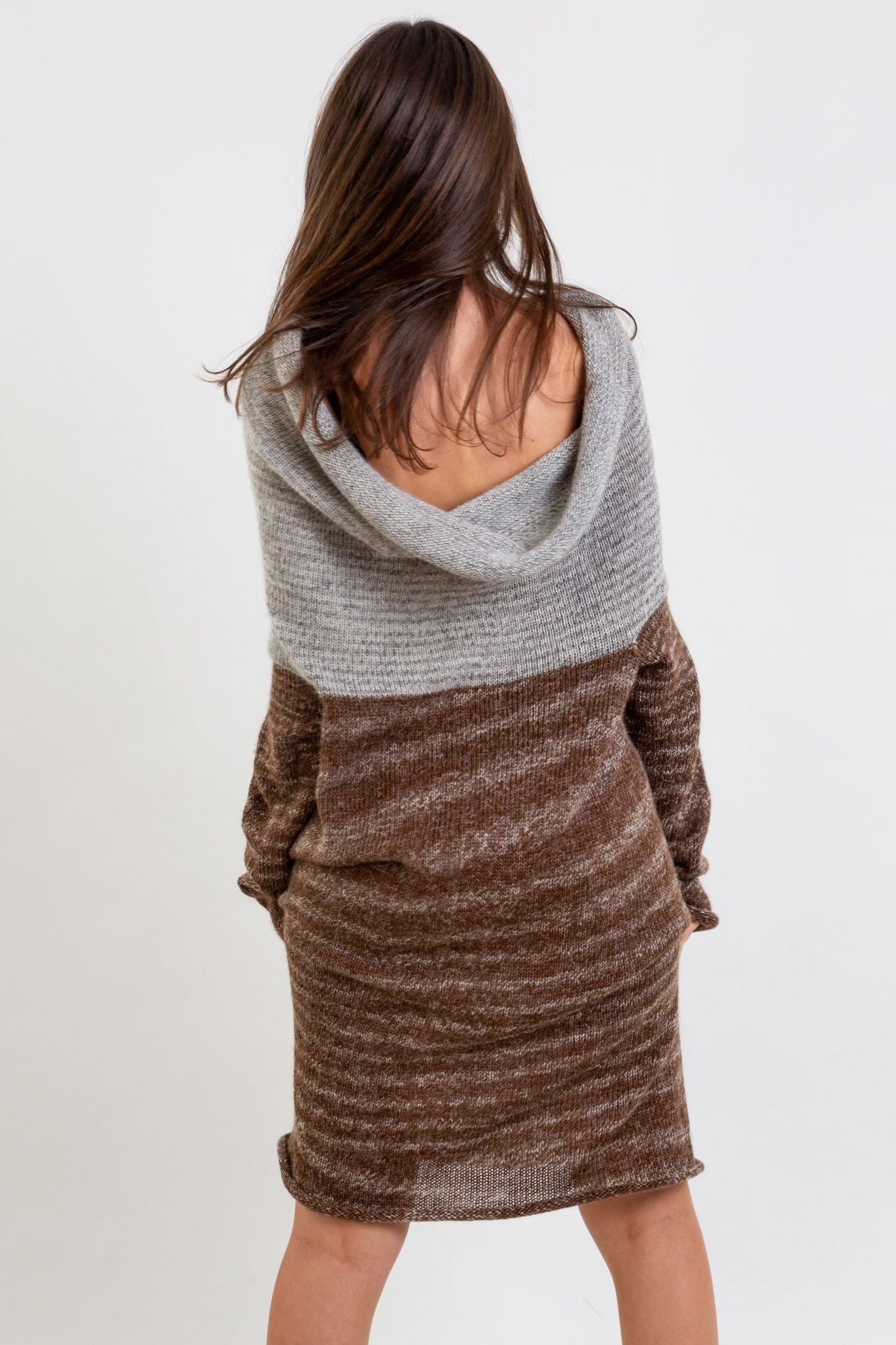 Multifunctional alpaca wool dress in Mixbrown & Mixgrey, which also can be a top or hoody.