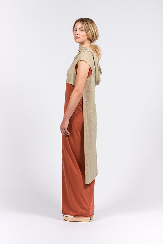 khaki dress in linen and organic cotton