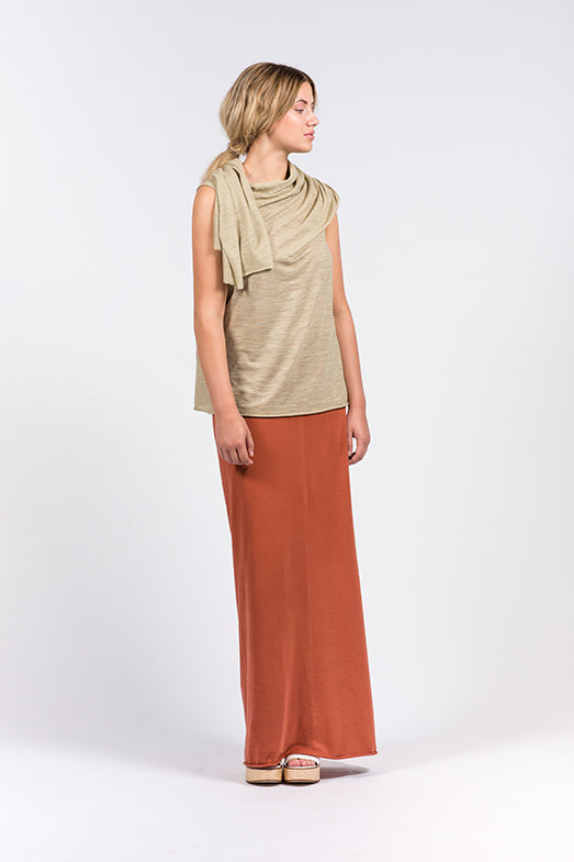 khaki top in linen and organic cotton