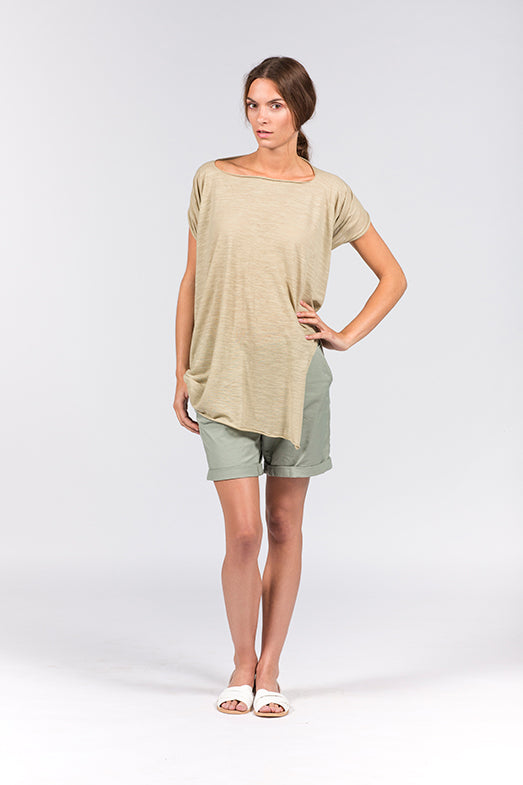 Multifunctional khaki dress which can be worn as a crop top, t-shirt with scarf or neckholder.