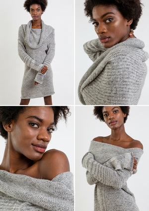 Multifunctional alpaca wool dress in Mixgrey, which also can be a top or hoody.