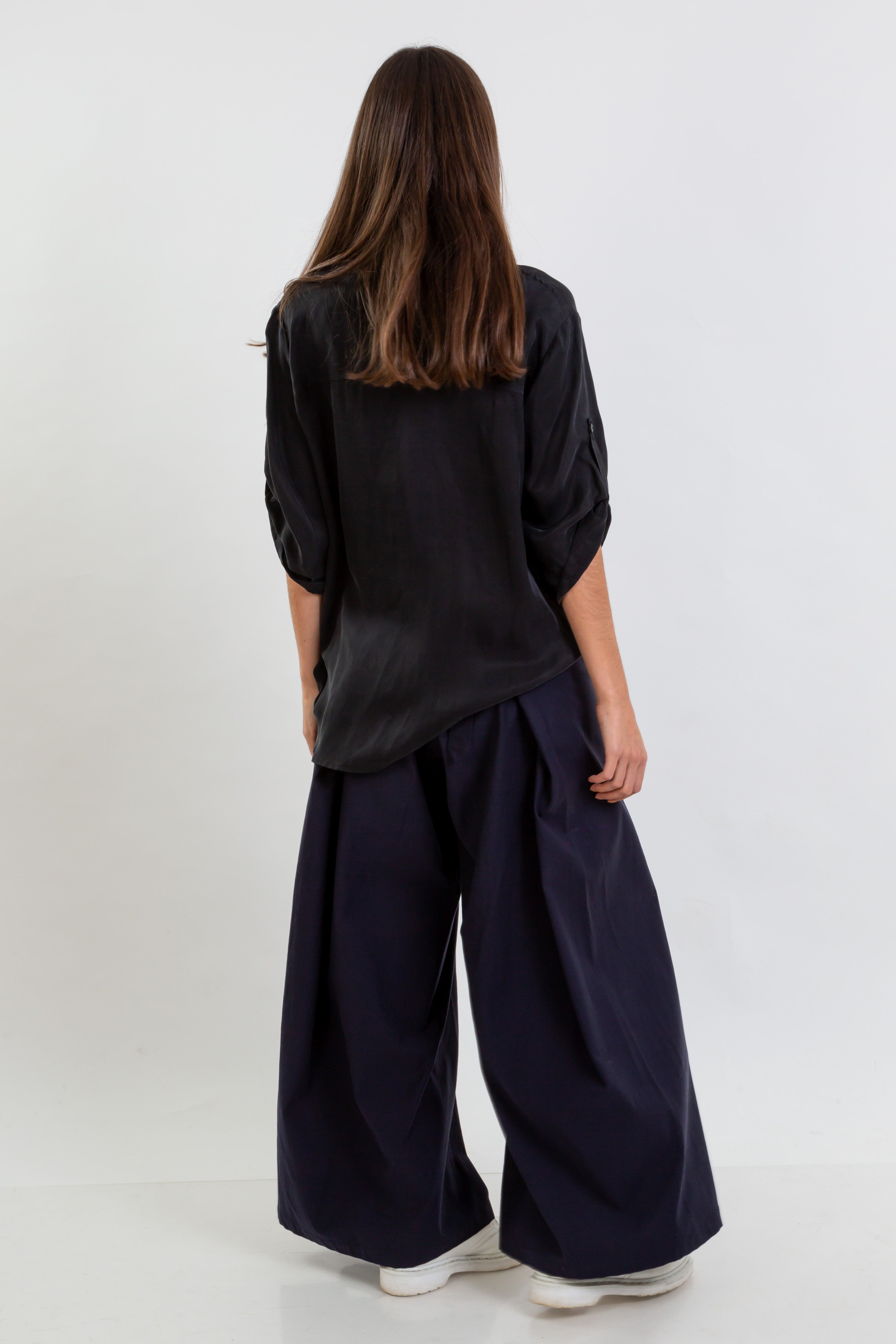 WIDE Trousers Lyocell Navy