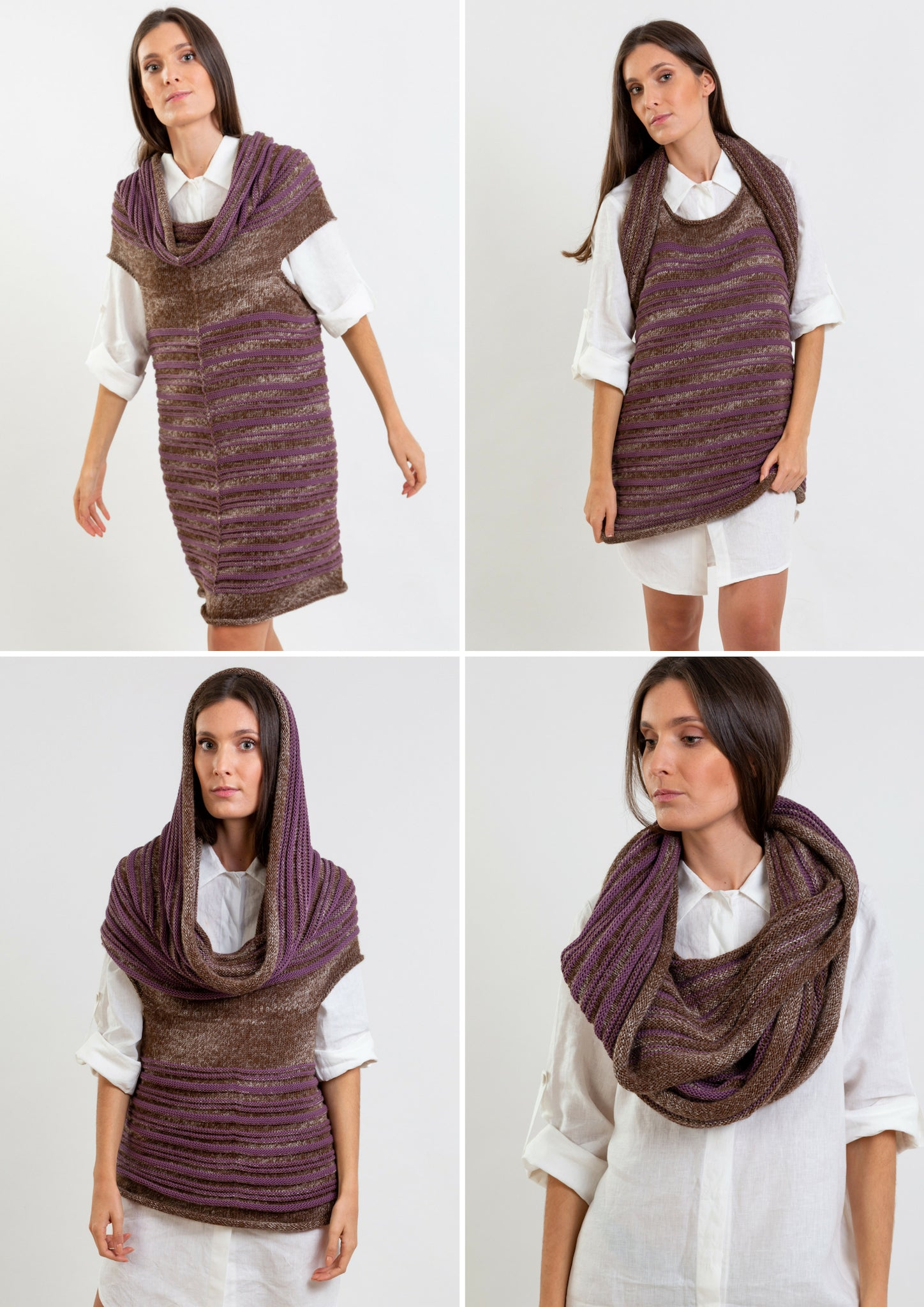 Multifunctional wool top in purple and brown which can be worn as a scarf or hoody top.