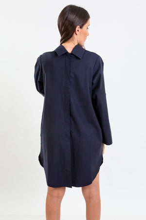 Multifunctional navy shirt whic can be worn as  a long shirt, dress or tunic