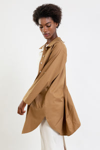 Multifunctional camel shirt which can be worn as a long shirt, dress or tunic.