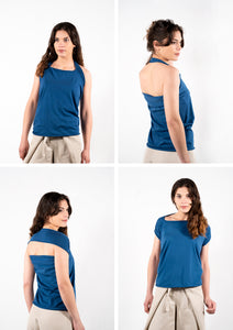 Blue top for women which can be worn in multiple ways.