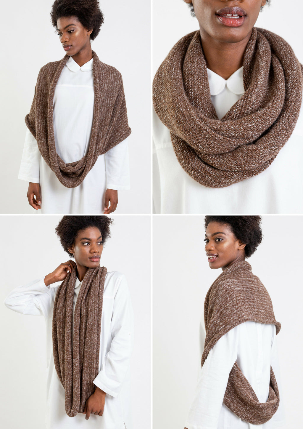 Multifunctional mix brown scarf which can be worn as a poncho, hoody or cape.