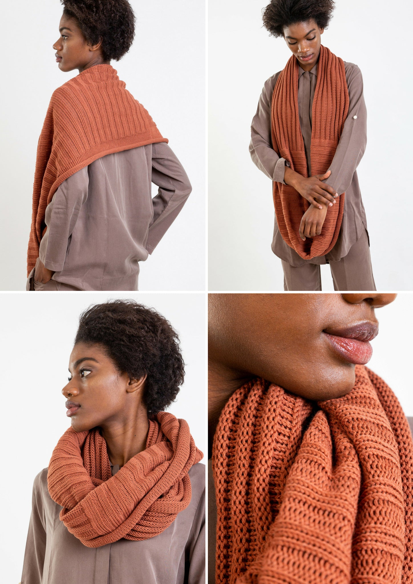 Multifunctional cinnamon scarf which can be worn as poncho, hoody or cape.