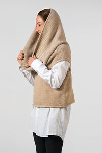 Elementum alpaca and merino handknitted wool top, in beige, which can be worn as a scarf or hoody.