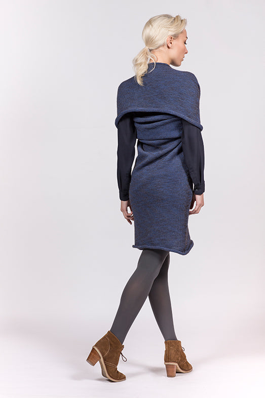 blue wool dress which can also be worn as a top, scarf or hoody.