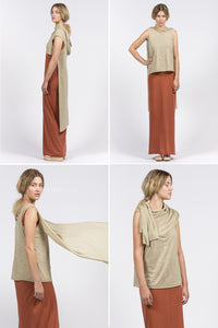 khaki dress which can be worn multiple ways