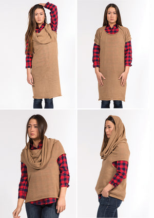camel wool dress which can be worn in mulltiple ways